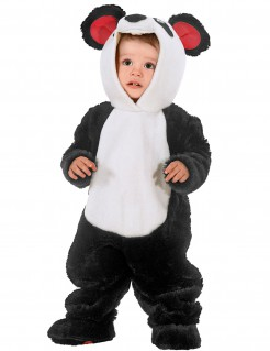 Panda Kostüm Baby Overall schwarz-weiss