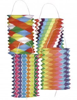 Papier Laternen gemustert 12 Stück bunt