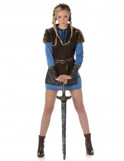 Wikingerin Mittelalter Damenkostüm Kriegerin braun-blau