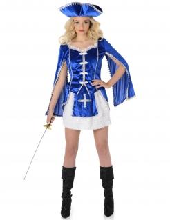 Sexy Musketier Mittelalter Damenkostüm weiss-blau