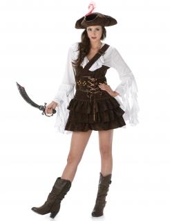 Süsse Piratin Damenkostüm weiss-braun