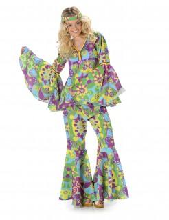 Blumiges Hippie-Damenkostüm 70er Jahre bunt