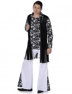 Extravagantes Herrenkostüm Hippie schwarz-weiß
