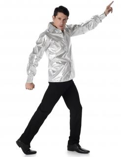 Disco-Herrenhemd mit Pailletten 70er-Männerhemd silber