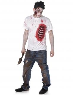 Zombie T-Shirt mit Rippen Halloween weiss-rot