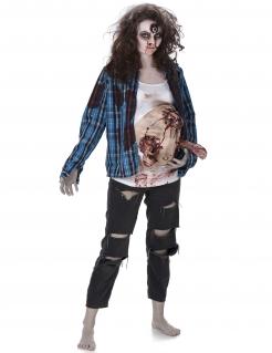 Schwangere Horrordame-Kostüm blau-weiss