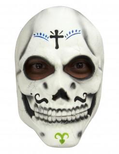 Tag der Toten Skelett Halloween-Maske weiss-schwarz