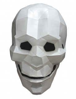 Low Poly Skelett-Maske Halloween grau