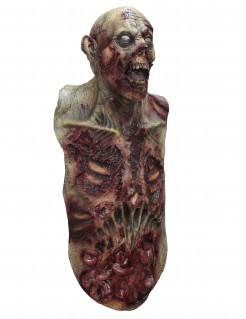 Deluxe Zombie-Maske mit Brustkorb Halloween grau-rot