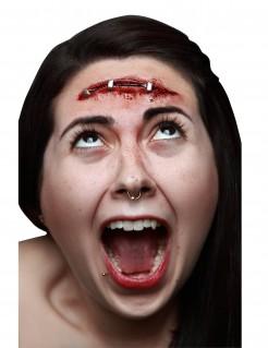 Geklammerte Schnittwunde Halloween-Latexapplikation rot-silber 9x2cm