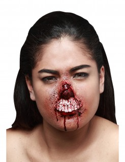Verfaulter Zombiemund Halloween-Latexapplikation hautfarben-rot