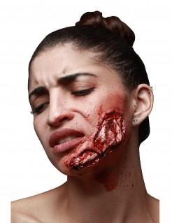 Aufgerissene Wunde Halloween-Latexapplikation rot 12x5cm