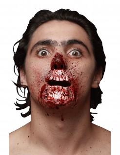 Hervorbrechener Totenschädel Halloween-Latexapplikation 2-teilig weiss-rot 7,5x4,5cm