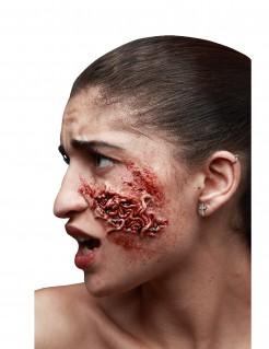 Horrorwunde mit Würmern Latexapplikation rot 7,5x4,5cm