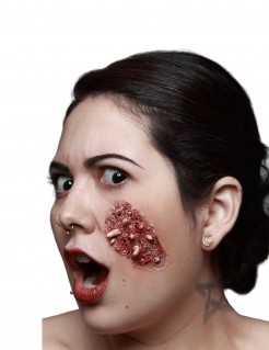 Madenbefall Halloween-Latexapplikation Horror Make-up beige-rot