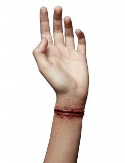 Geritztes Handgelenk Schnittwunde Latexapplikation rot 11x2cm