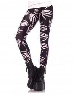Skelett-Hände Halloween-Leggings Gothic schwarz-weiss