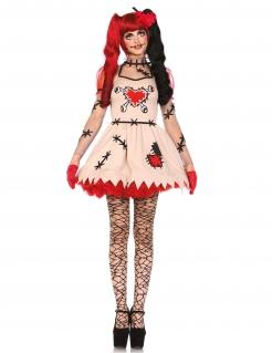 Süsse Zombie-Puppe Halloween Damenkostüm beige-schwarz-rot