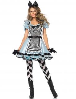 Hypnotische Alice Damenkostüm Märchen hellblau-weiss-schwarz