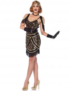 20er Jahre Charleston Pailetten Damenkostüm schwarz-gold