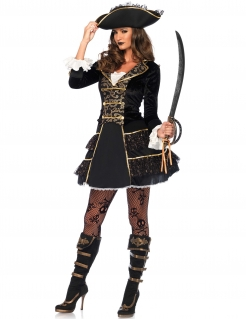 Elegante Barock-Piratin Damenkostüm schwarz-gold