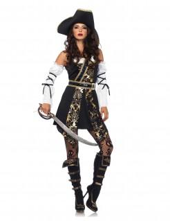 Glitzerndes barockes Piratinnen-Kostüm für Damen schwarz-golden