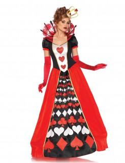 Elegante Herzkönigin Damenkostüm Märchen rot-schwarz-weiss