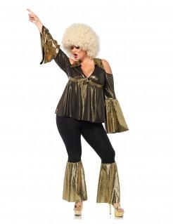 70er-Jahre Disco Plus Size Damenkostüm schwarz-gold
