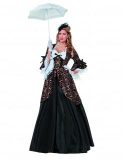 Kostüm Marquise für Damen schwarz-braun-weiss