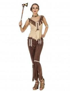 Damenkostüm Indianerin Wildwest braun-beige