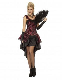 Cabaret-Tänzerin Kostüm für Frauen schwarz-rot