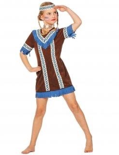 Indianerin Kinderkostüm Wildwest braun-creme-blau