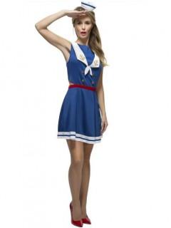 Sexy Matrosin-Damenkostüm Seefahrerin blau-weiss