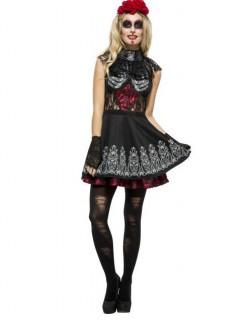 Tag der Toten Halloween-Damenkostüm Skelett schwarz-rot-weiss