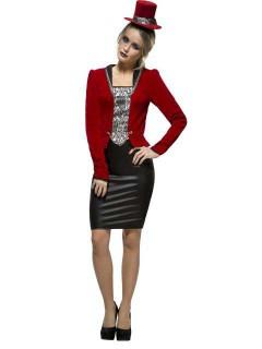 Elegante Vampirin Damenkostüm schwarz-rot