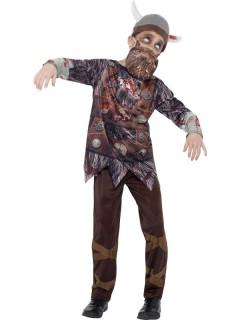 Zombiewikinger-Kinderkostüm Halloweenverkleidung grau-braun