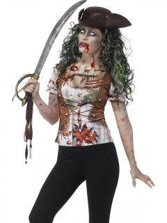 Schaurige Zombie-Piratin Halloween T-Shirt weiss-braun-rot