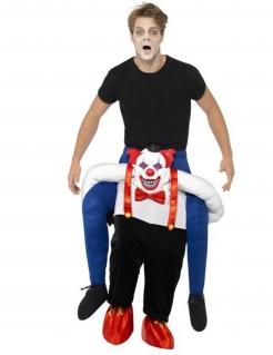Carry Me Kostüm Horrorclown Halloween schwarz-weiss-rot-blau