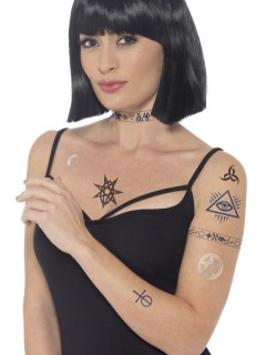 Halloween Tattoo-Set 8-teilig schwarz-grau