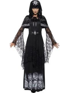 Gothic-Hexe Damenkostüm Zauberin schwarz-weiss