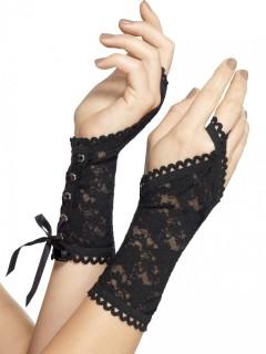 Elegante Spitzen-Handschuhe Gothic schwarz