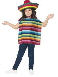 Poncho und Sombrero für Kinder bunt