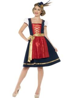 Dirndl Damenkostüm Trachtenkleid blau-rot-gold