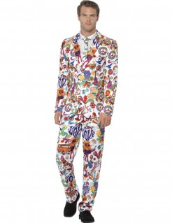 Farbenfroher Hippie-Anzug Herrenanzug weiss-bunt