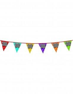 Geburtstags-Wimpelgirlande Zahl 30 bunt