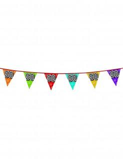 Geburtstags-Wimpelgirlande Zahl 50 bunt