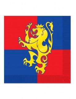 Mittelalter-Servietten Löwen-Wappen 16 Stück rot-blau-gelb 33x33cm