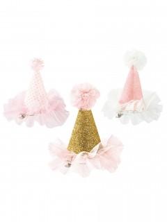 Prinzessinnen-Minihut Haarspange rosa-weiss-gold