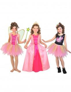 3 in1 Mädchenkostüm Fee Prinzessin und Popstar rosa
