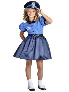 Polizistin-Kostüm für Mädchen blau